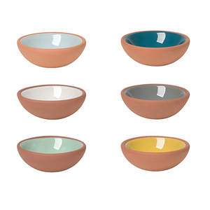 6 pcs Terracotta Tableware Small Sauce Dish Serving Dishes with Glazed Interior Exterior Unglazed