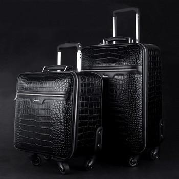 Luxury Business Crocodile Genuine Leather Travel Luggage Universal ...