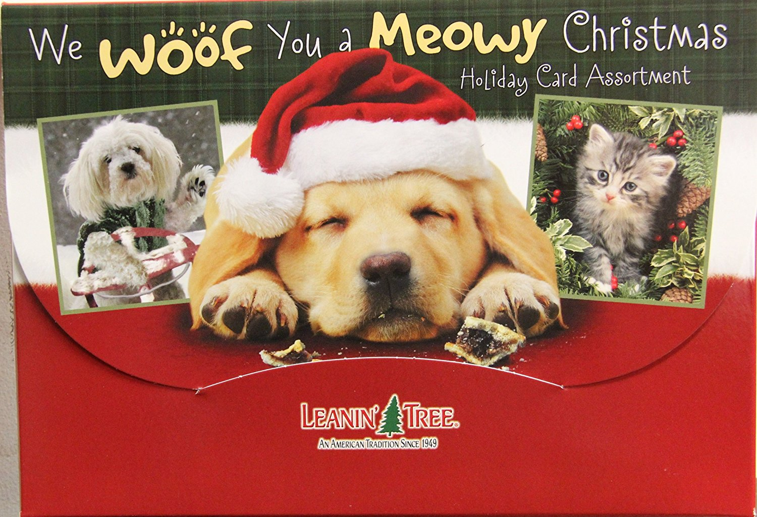 buy leanin tree we woof you a meowy christmas 20 pack design