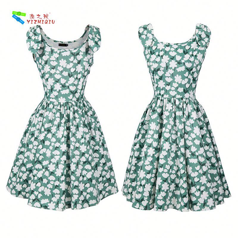 YIZHIQIU vintage kleid plus größe kleid sommer kleid für reife frau