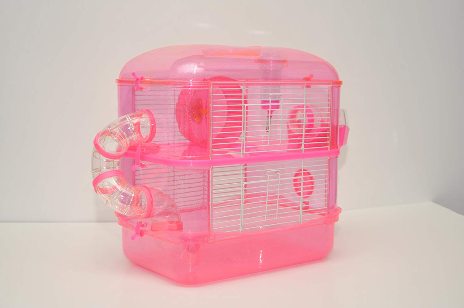 Fantazia 2 Large Pink Glitter Hamster Small Animal Cage With Free Hamster Ball