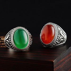 US Men Retro Red&Green Round Agate Gemstone Stainless Steel Ring