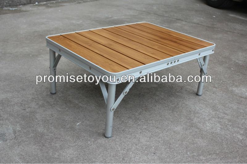 Bamboo Folding Table Outdoor Camping Top Aluminium Base
