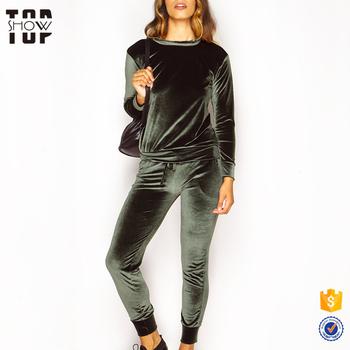 c99af49e6b3 Top design women tracksuit set green ladies velour tracksuits wholesale