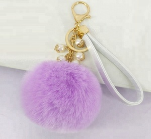 hot sale factory price Faux Fur Ball Charm Key Chain with Artificial Pearl for Key Ring or Bag