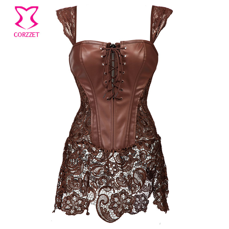 d0296a314dc96 Skirted Lace Brown Leather Steampunk Corset Dress Punk Gothic font b  Clothing b font Waist Training
