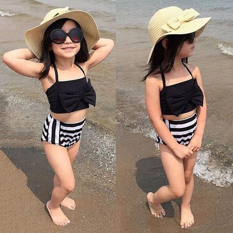 d4ef7a7c96b Girls Swim Suit Clothing Sets Summer Kids Beach Dress Baby Swim Wear  Fashion Children Bow Desing Stripe Style Casual D05X29