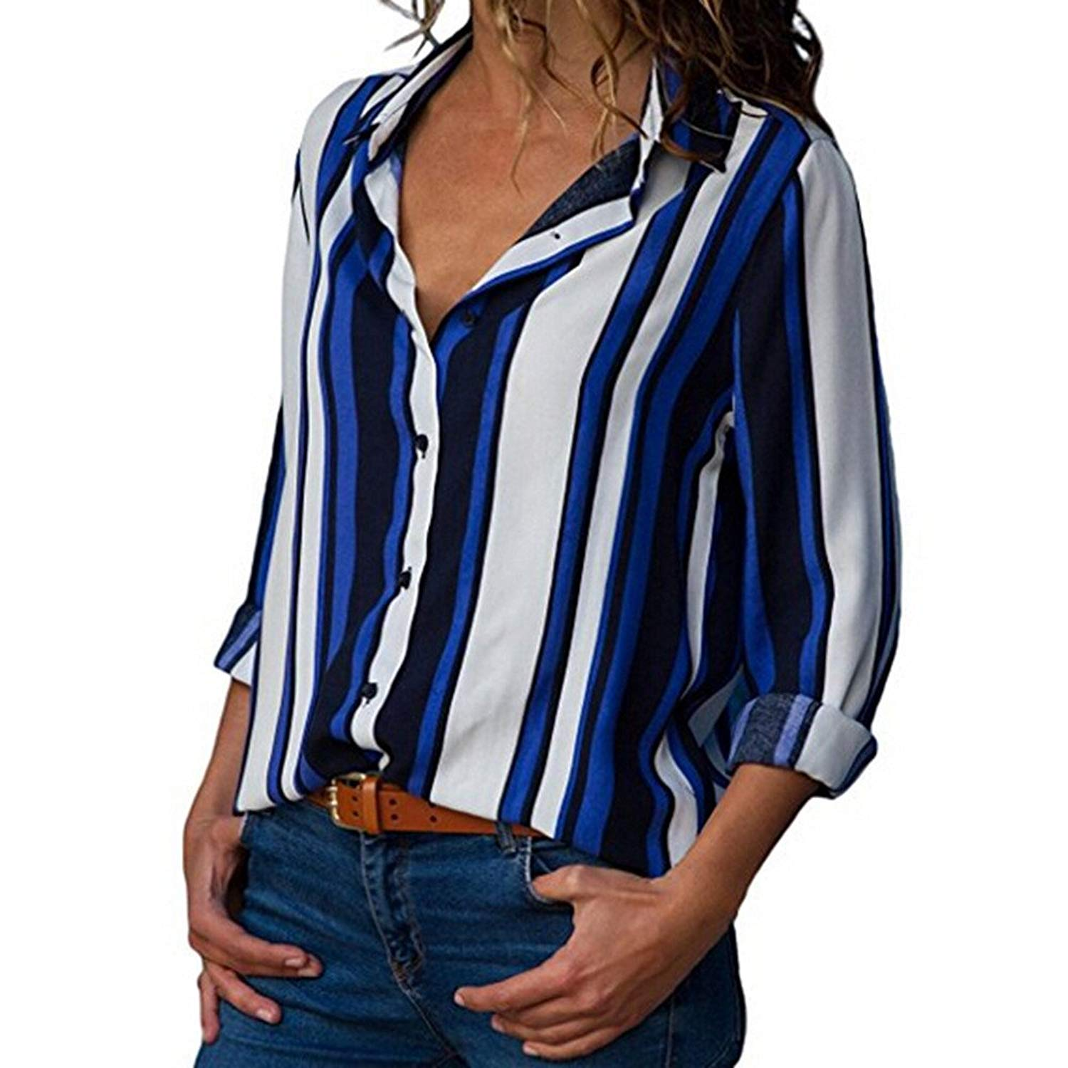 F_topbu Women Shirts and Blouses,Women Long Sleeve V-Neck Button up Striped Casual Blouse Loose Shirt T-Shirt(Polyester)