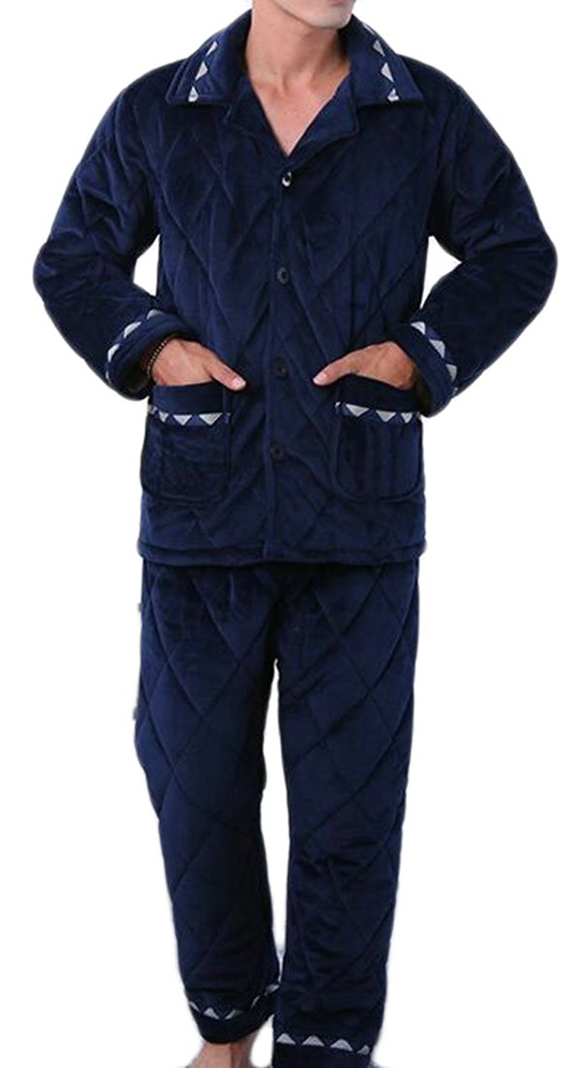 Fulok Mens Top With Pants Loose Fit Thick Padded Fleece Lined Pajama Set