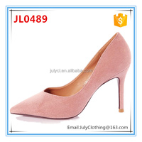 2017 Spring Stylish Ladies Microfibre Leather High Heel Dress Shoes for Women