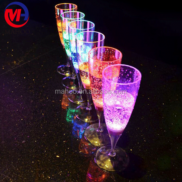 LED Wine Champagne Flute's Light Up Glasses Flashing Cups LED Liquid Activated for Bar Night Club Party