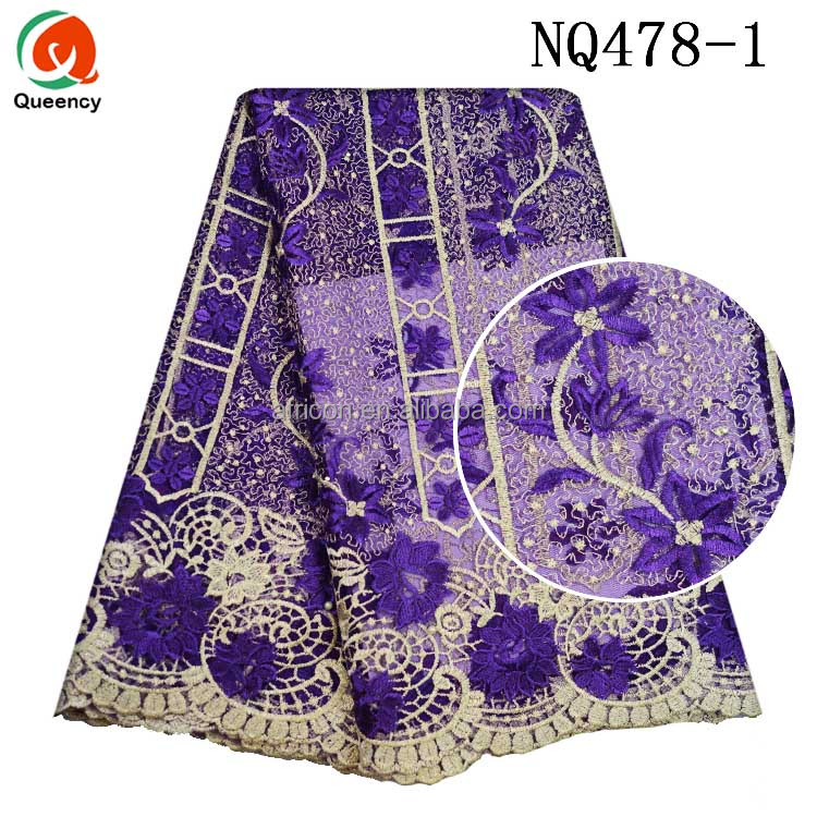 Queency 5 Yards Latest Hot Aso Ebi Styles Embroidered French Net Lace African