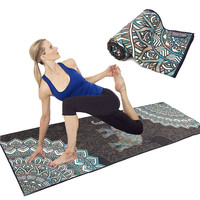 Quick Dry Non Slip Hot Yoga Towel Silicon Dots Custom Printed Wholesale Sport Microfiber Yoga Mat Towel With Corner Pocket