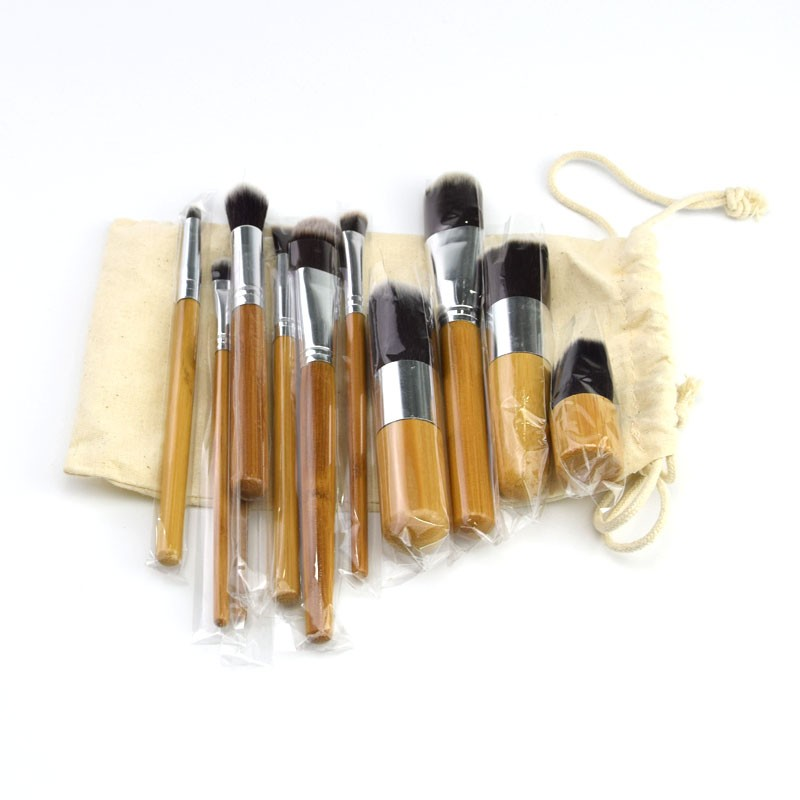11pcs bamboo handle makeup brushes synthetic hair kabuki brush kit with cloth bag