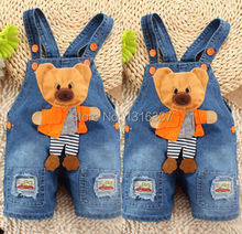 2014 NEW Newborn Baby Girls Boys Kids Denim Jeans One-pieces bear Rompers Playsuits Clothes  FREE SHIPPING