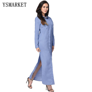 Causal Denim Shirt Dress Jeans like Single Breasted Turn Down Collar Long Sleeve Solid Split Up Pockets Women Maxi Dress