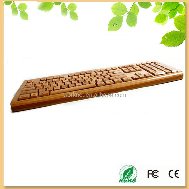 new products on china market 100% handmade natural bamboo wired keyboard german version