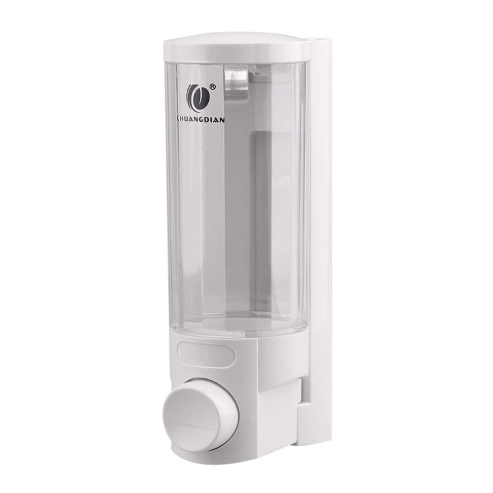DULPLAY Soap Dispenser,Wall-mounted,Abs plastic,Chrome,Hand sanitizer bottle Sticky Kitchen Soap box Bathroom Manual double head Hotel Shampoo box -A 19.2x9x6.5cm(8x4x3inch)