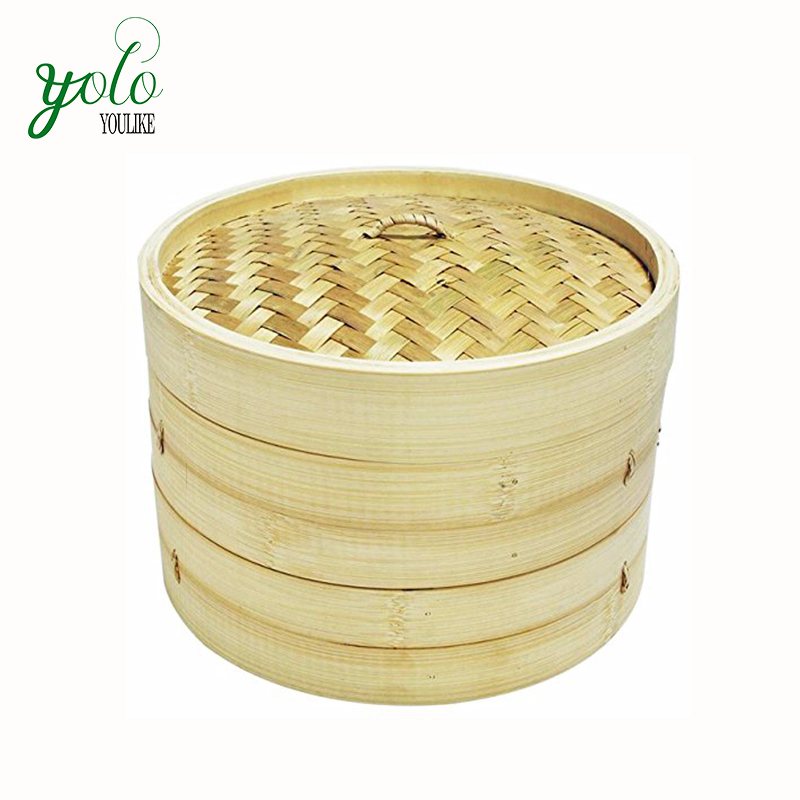 Multi Tier Bamboo Steamer Basket Set for dumpling Chinese style