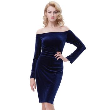 b8b6baa5f9 Kate Kasin Women's Long Sleeve Off Shoulder Hips-Wrapped Navy blue Velvet  Bodycon Pencil Dress