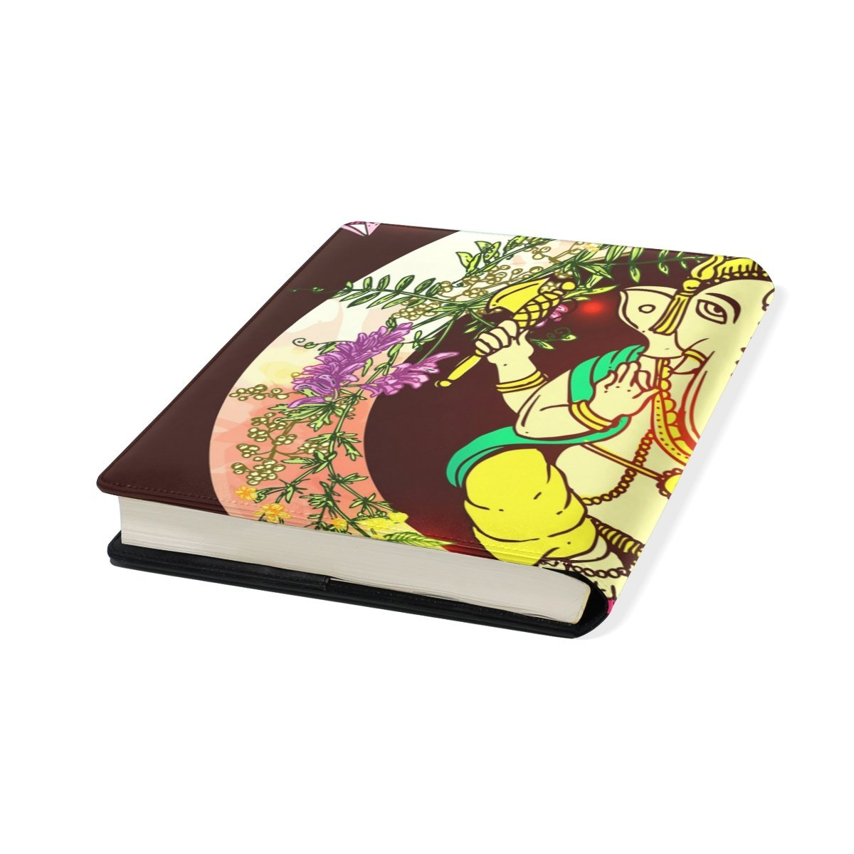 Sunlome Ganesha Indian Elephant Pattern Stretchable PU Leather Book Cover 9 x 11 Inches Fits for School Hardcover Textbooks