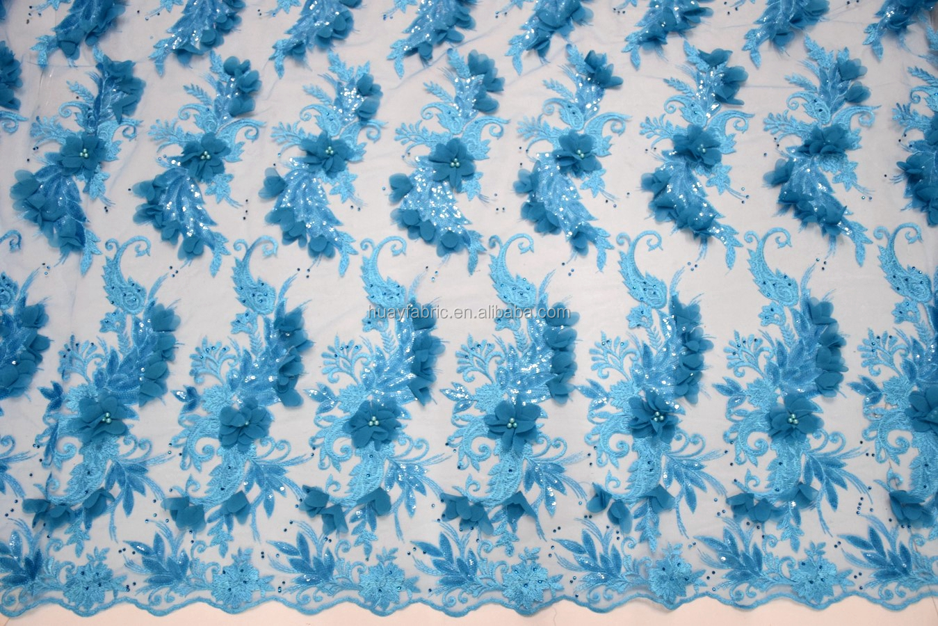 Superb blue 3d flower beaded lace mesh fabric with sequins and pearls stone tulle lace HY0522-8