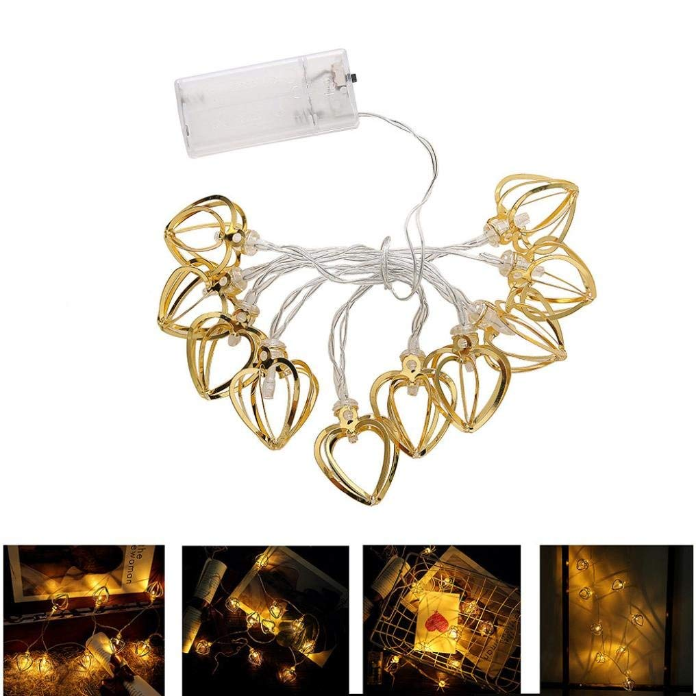 BZ749 Metal hollow love heart-shaped holiday decoration light string Curtain heart light string home decoration eye-catching 10 LED beads Recommended: (light post)