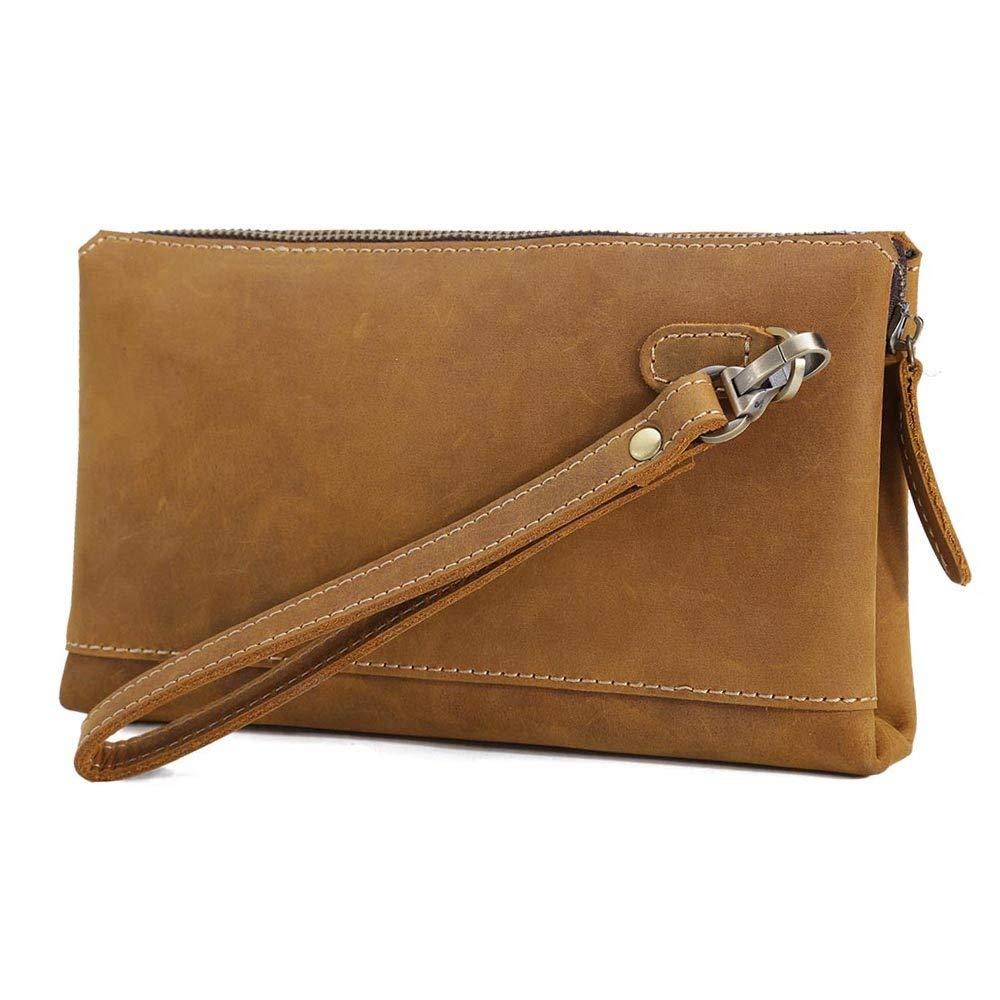 Tiding Men's Genuine Leather Business Clutch Bags Wrist Bag Small Handbag