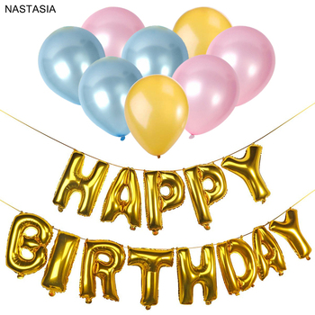 NASTASIA Happy Birthday Balloons Set Latex Aluminum Film Party Decorations Kids Emoji Balloon