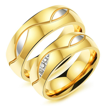 Fashion European Style Wedding Ring Jewelry Gold Plated Stainless Steel Bands With Diamond