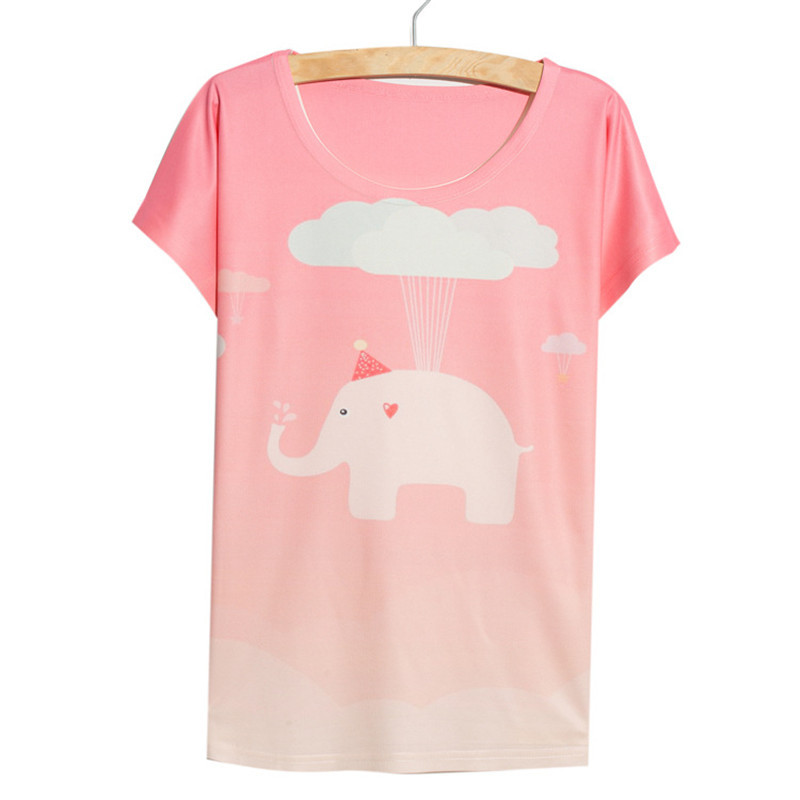 5e6621867 Get Quotations · Alisister Newest casual elephant t shirt women Clothes  girls thin loose batwing short-sleeve summer
