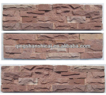 Pink Sandstone Indoor Stacked Wall Cladding Stone Interior Decorative Brick  Walls Stacked Stone Tiles Interior Stone
