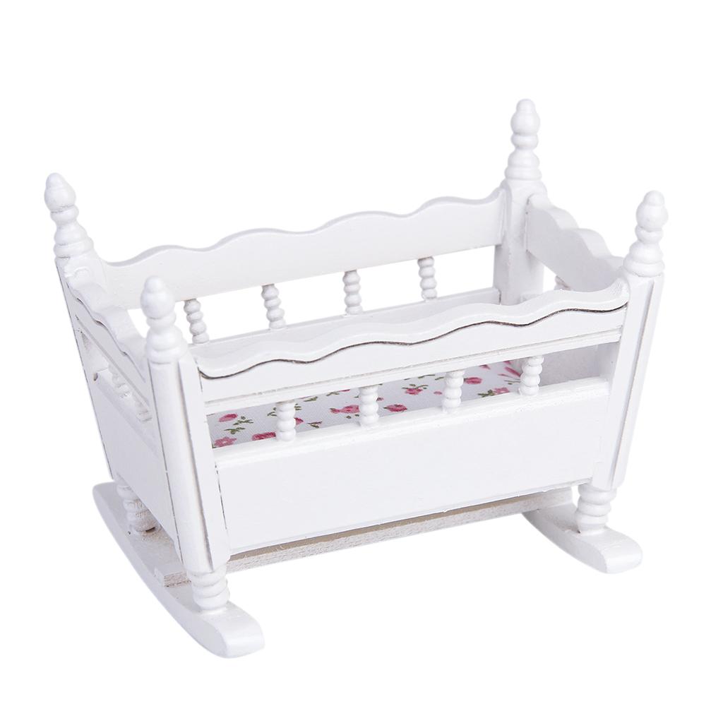 112 миниатюрный домик для кукол унисекс белая деревянная колыбель для детской кроватки 112 кукольный домик мебель для украшения детской комнаты