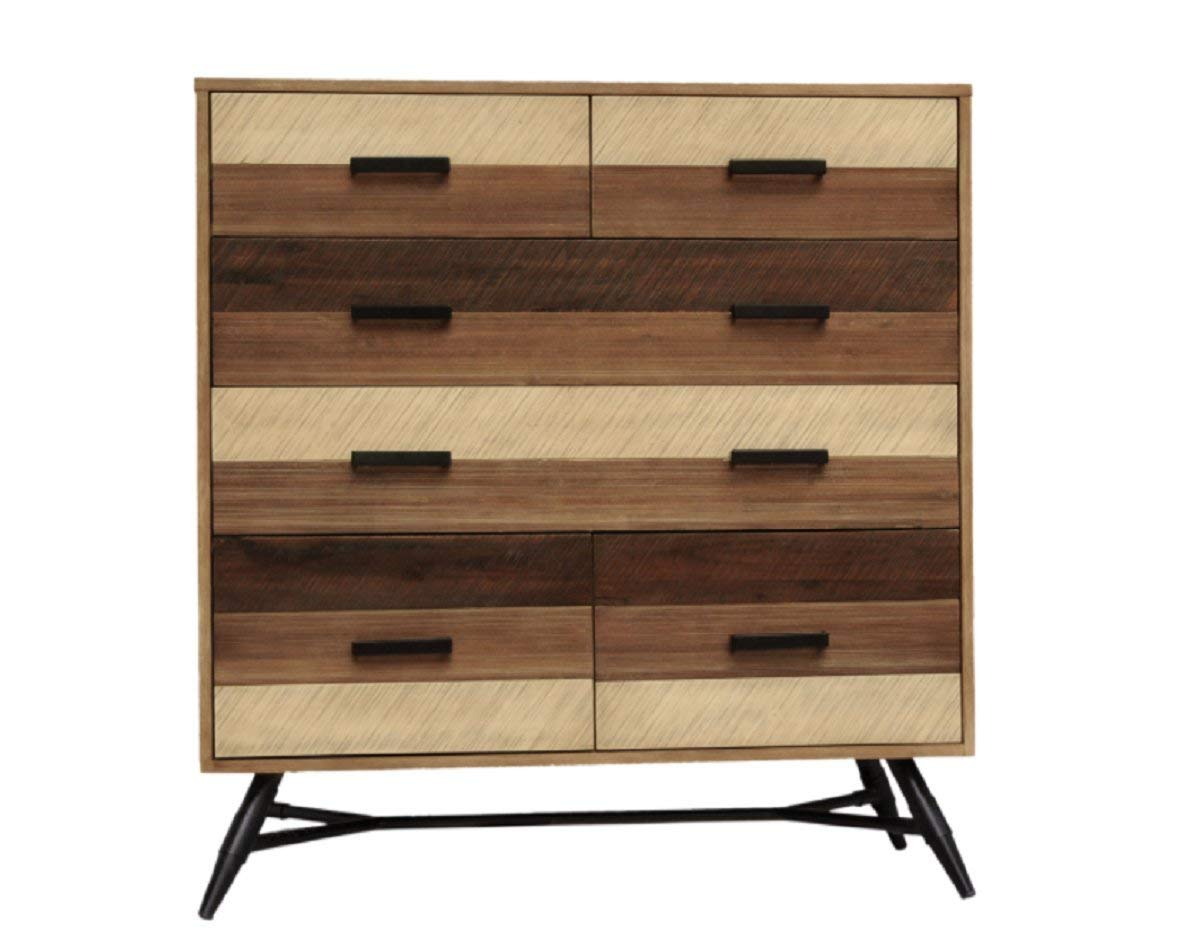 CDI FURNITURE MT1151 The Medley Collection Modern Rustic Acacia Wood Chest, 6 Drawers