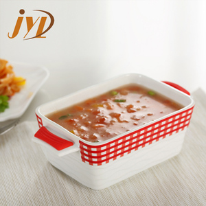 Rectangular shape ceramic bakeware ramekin