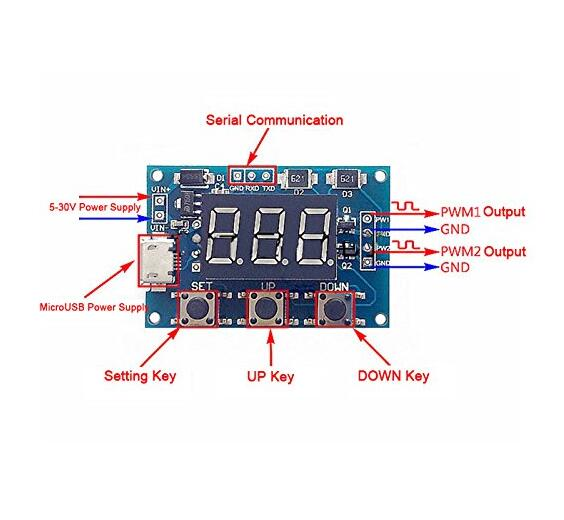 PWM pulse frequency cycle adjustable module wave rectangular signal generator