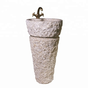 Outdoor Or Bathroom Natural Stone Pedestal Basin Round Vessel Sink For