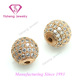 China Gold Round Ball CZ Micro Pave Beads 925 Sterling Silver Jewelry