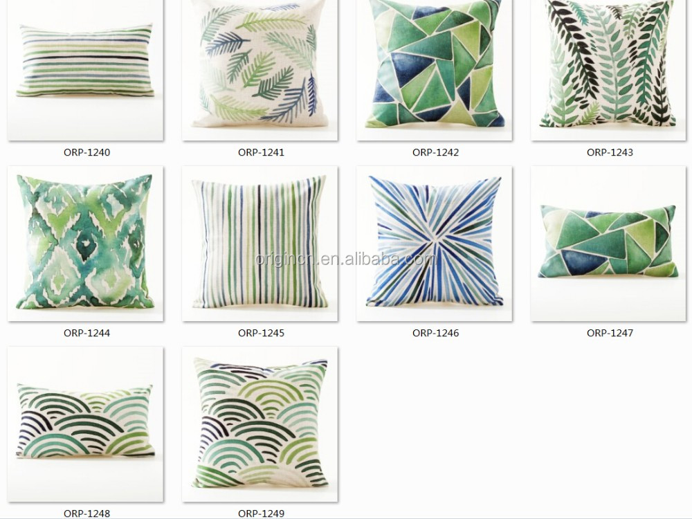 Origin japanese style sea wave print outdoor throw hold pillow Green Light collection