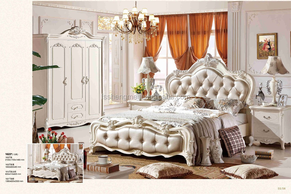 Royal Furniture Bedroom Sets Italy Real Leather King Size Bed White Color Wardrobe