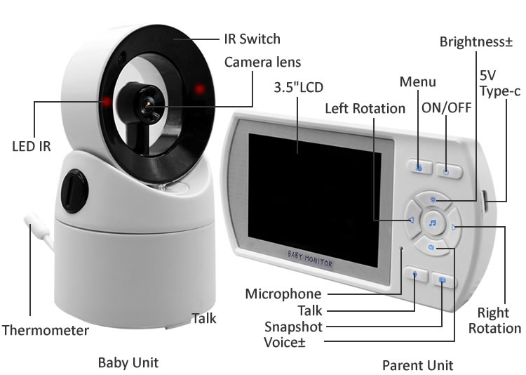 Two way talk  night vision 3.5 inch  2.4GHz wireless digital video baby monitor