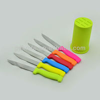High quality 6pcs stainless steel PP color handle steak knife