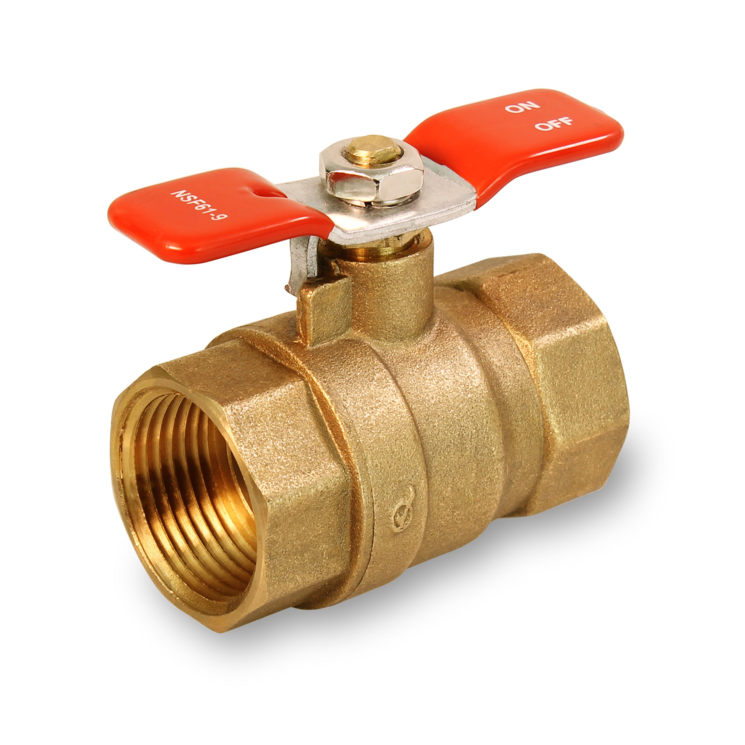 Everflow Supplies 615T001-NL Lead Free Full Port IPS Threaded Ball Valve with Tee Handle, 1-Inch