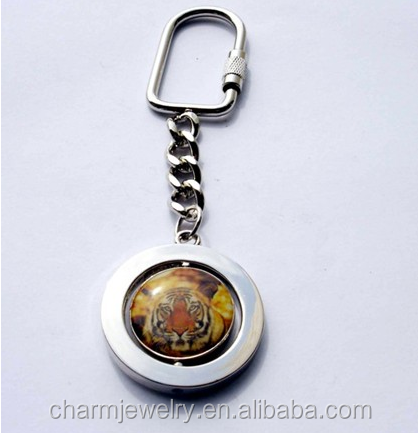 OEM zinc alloy keychain with printing <strong>logo</strong> with customized design with spinner funtion