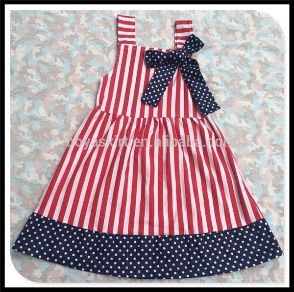 a47305762 July 4th New Style Red Blue Star Printed Ruffle Belt Dress Cotton ...