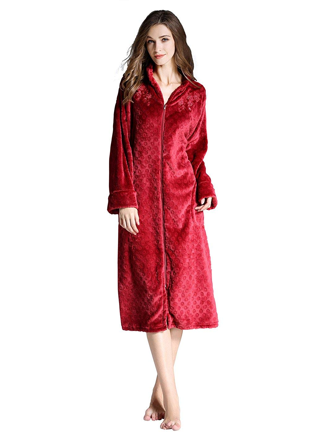 Get Quotations · Borje Womens Fleece Embroidery Robe 3fcc0d7fb