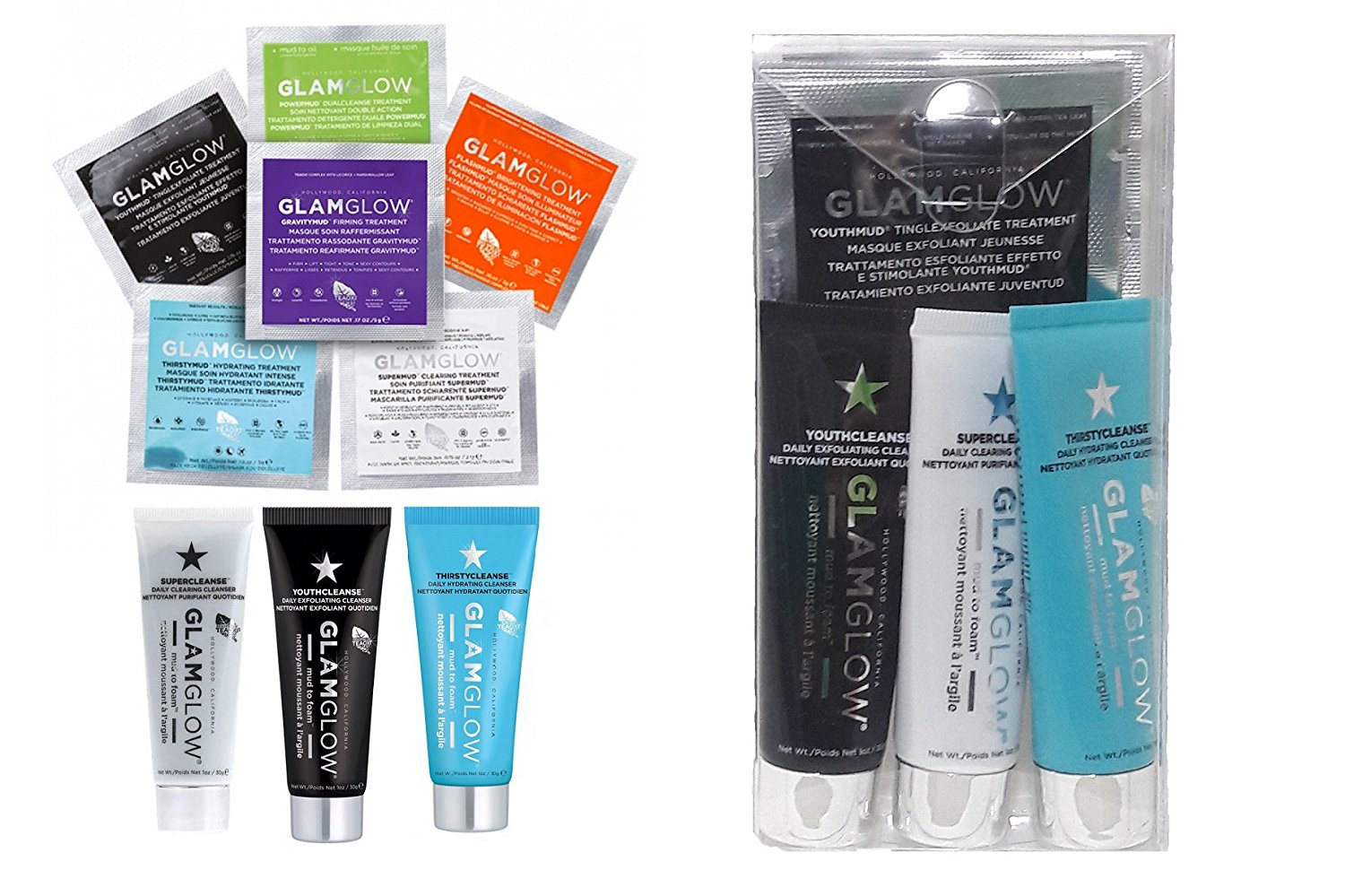 GLAMGOW TEASER (8 Pc) New in Box - 1 ea YOUTHMUD(0.17 oz), SUPERMUD(.07 oz), THIRSTYMUD (0.10 oz), POWERMUD (0.10 oz), FLASHMUD(0.10 oz), GRAVITYMUD (0.17 oz), YouthCLEANSE(1 oz), SuperCLEANSE(1 oz)