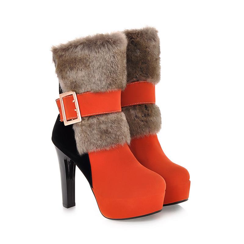 6ebf5e92e8d Get Quotations · Hot Sexy Green Black Orange Women Mid Calf Martin Boots  Platform Pumps Ladies Shoes High Heels