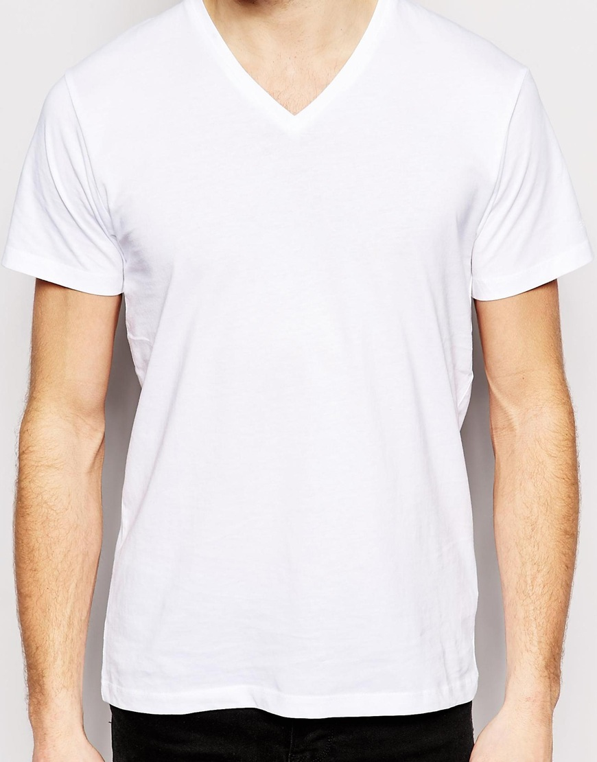 2015 Summer Men Cotton Plain White V-neck T Shirts