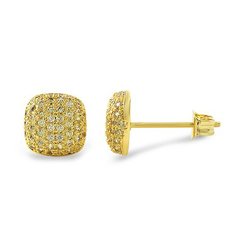 Mens iced Out HipHop 14k Gold Finish Yellow cz Diamond Stud Earrings